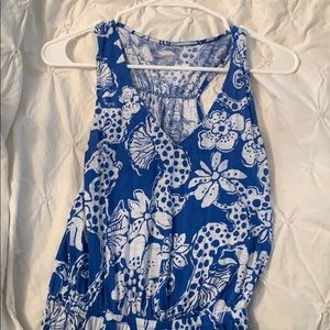 Lilly Pulitzer Blue Sea Horse Print Maxi Dress